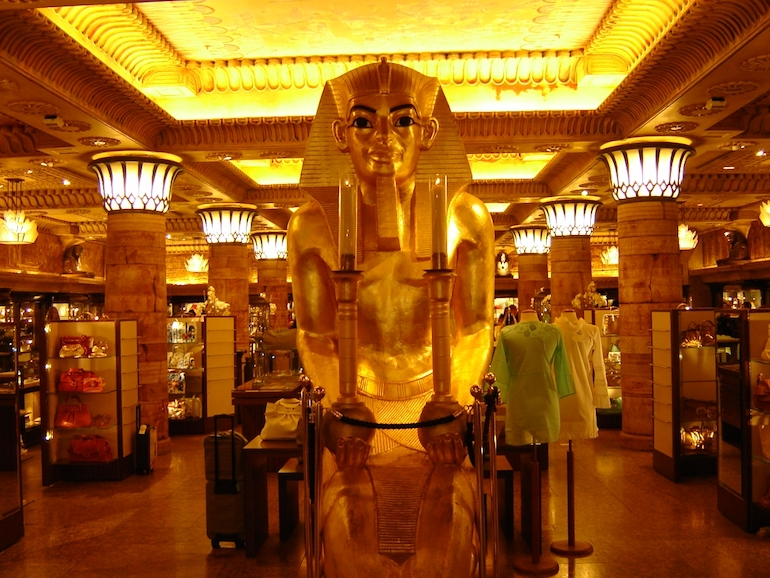 The Egyptian themed room at Harrods department store in London. Photo Credit: © Targeman via Wikimedia Commons.