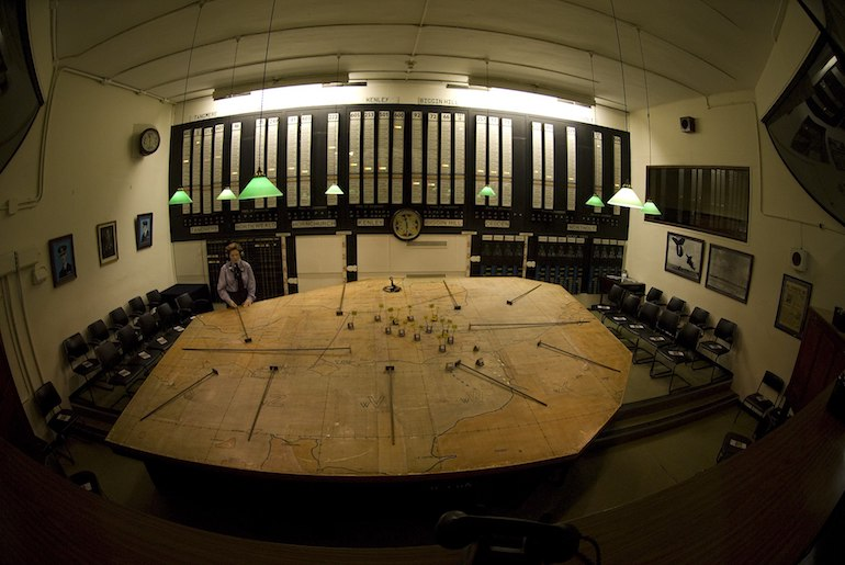 The Group Operations Room at the Battle of Britain Bunker in Uxbridge. Photo Credit: Danielstirland via Wikimedia Commons.
