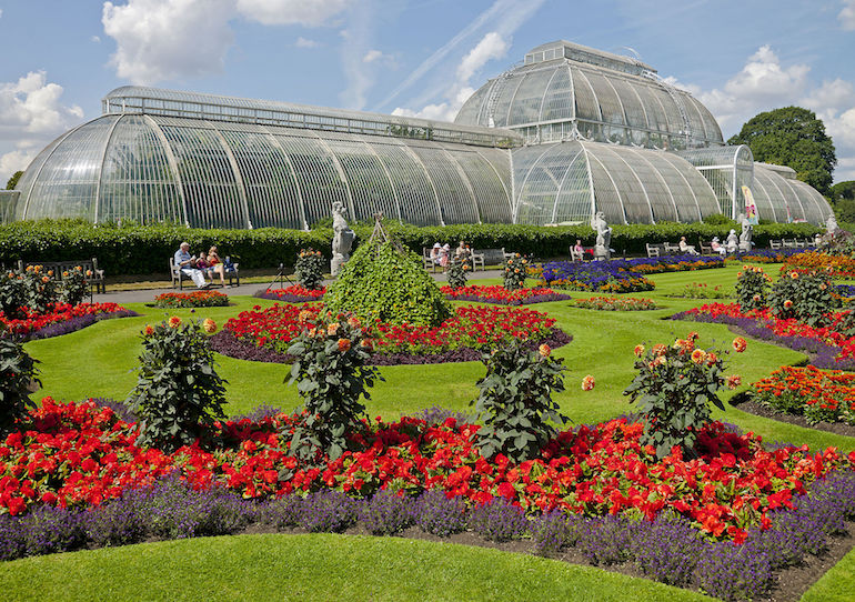 The Palm House and Parterre at the Royal Botanic Gardens of Kew in London. Photo Credit: © Daniel Case via Wikimedia Commons.
