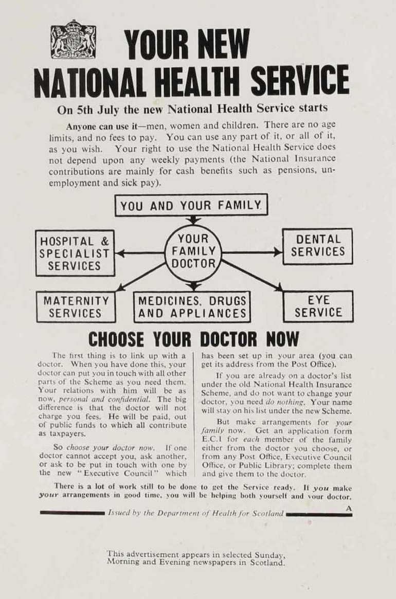 Your new National Health Service Leaflet, May 1948. Photo Credit: © The National Archives via Wikimedia Commons.