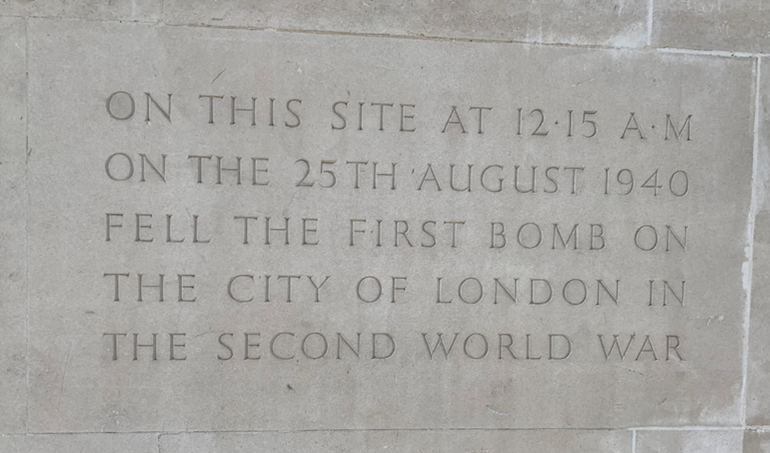 Plaque on Fore Street identifying site of first WW2 bomb in the centre of London. Photo Credit: © Ruth Polling.