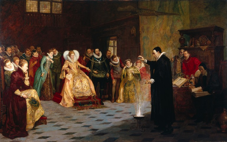 Painting of John Dee performing an experiment before Queen Elizabeth I. Photo Credit: © Wellcome Library Gallery via Wikimedia Commons.