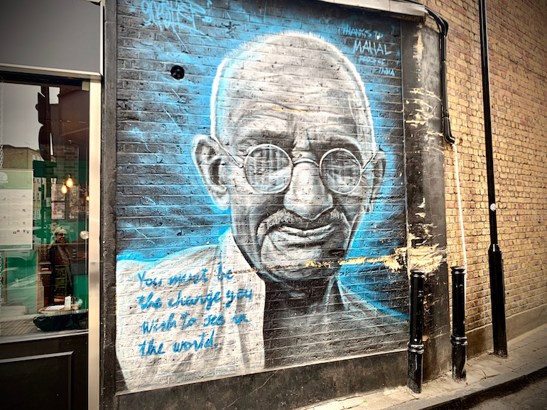 Art with a heart. Gandhiji in Islington. Photo Credit: © Antony Robbins.