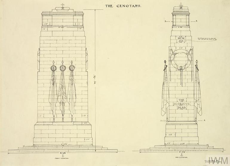 The original design for The Cenotaph monument in Whitehall, London. Photo Credit: © Imperial War Museum.