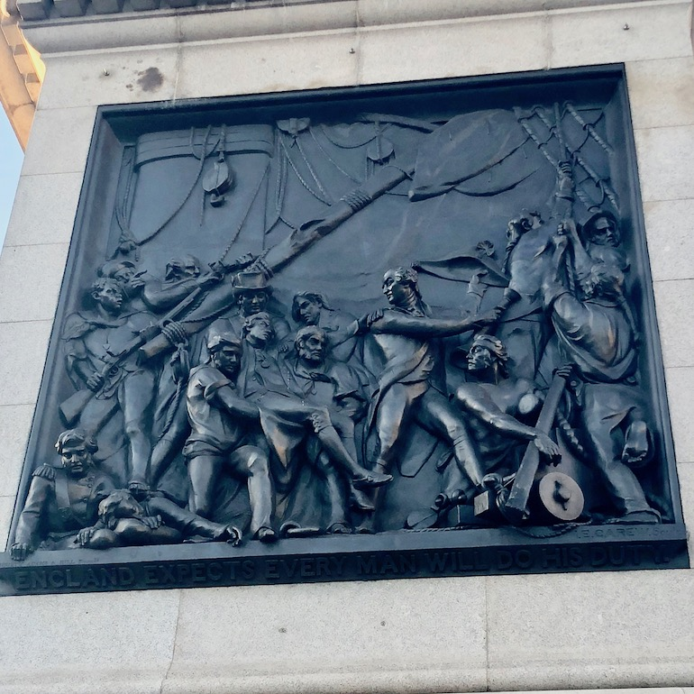 Black sailor depicted at base of Nelson's Column in Trafalgar Square, London. Photo Credit: © Ursula Petula Barzey.