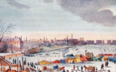 Frost Fair on the River Thames near the Temple Stairs. by Thomas Wijck. Photo Credit: © Public Domain via Wikimedia Commons.
