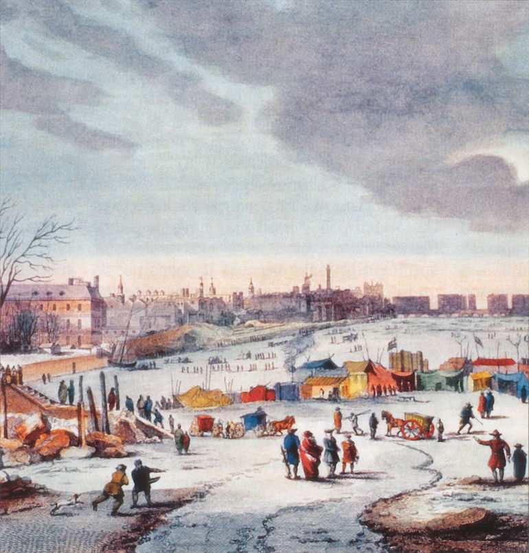 Frost Fair on the River Thames near the Temple Stairs. by Thomas Wijck. Photo Credit: ©Public Domain via Wikimedia Commons.