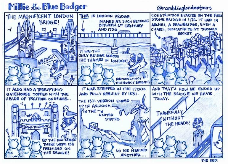 Millie the Blue Badger - London Bridge Cartoon. Photo Credit: ©Amber Tallon.