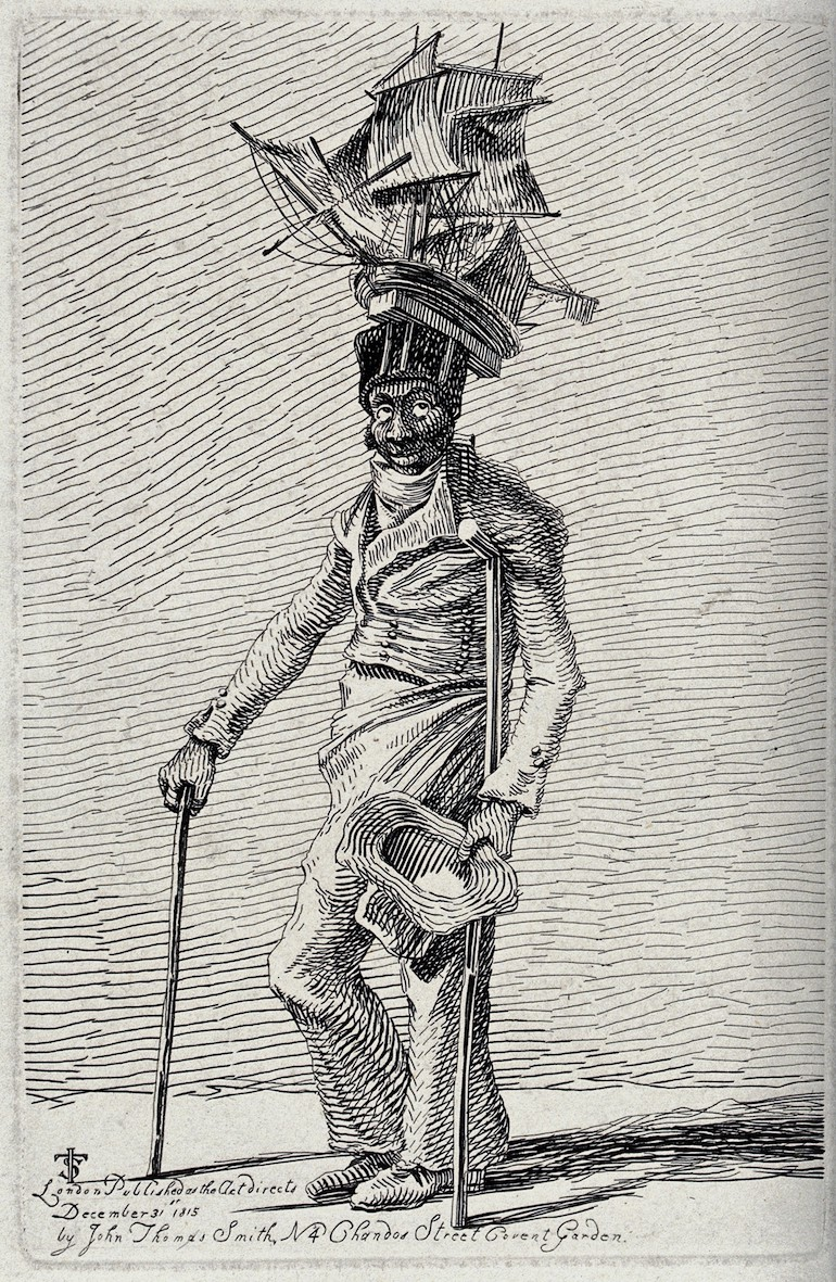 Sailor Joseph Johnson in ragged clothes moving with the aid of crutches. Photo Credit: © Wellcome Library via Wikimedia Commons.
