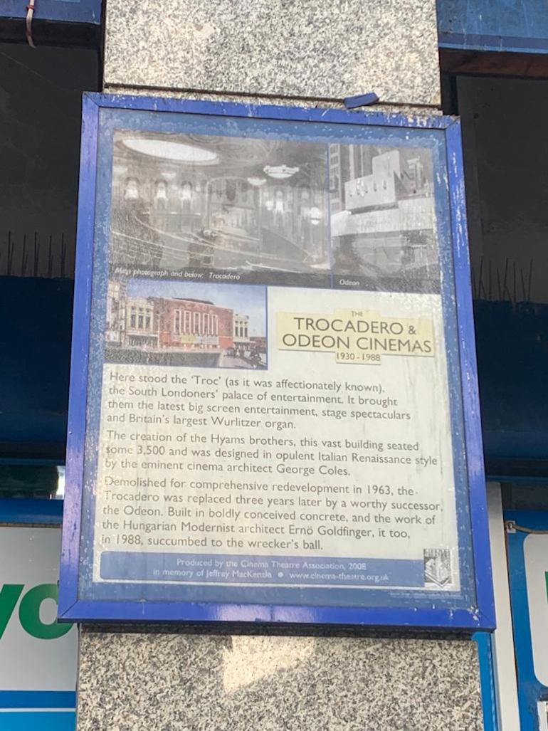 Elephant & Castle - Historic Cinema Plaque. Photo Credit: © Ruth Polling.