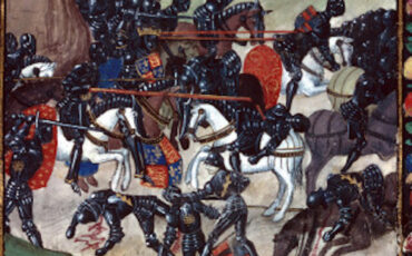 Battle of Barnet - Edward (centre) leads his army to victory, as Warwick's men flees to the right. Photo Credit: © Public Domain via Wikimedia Commons.