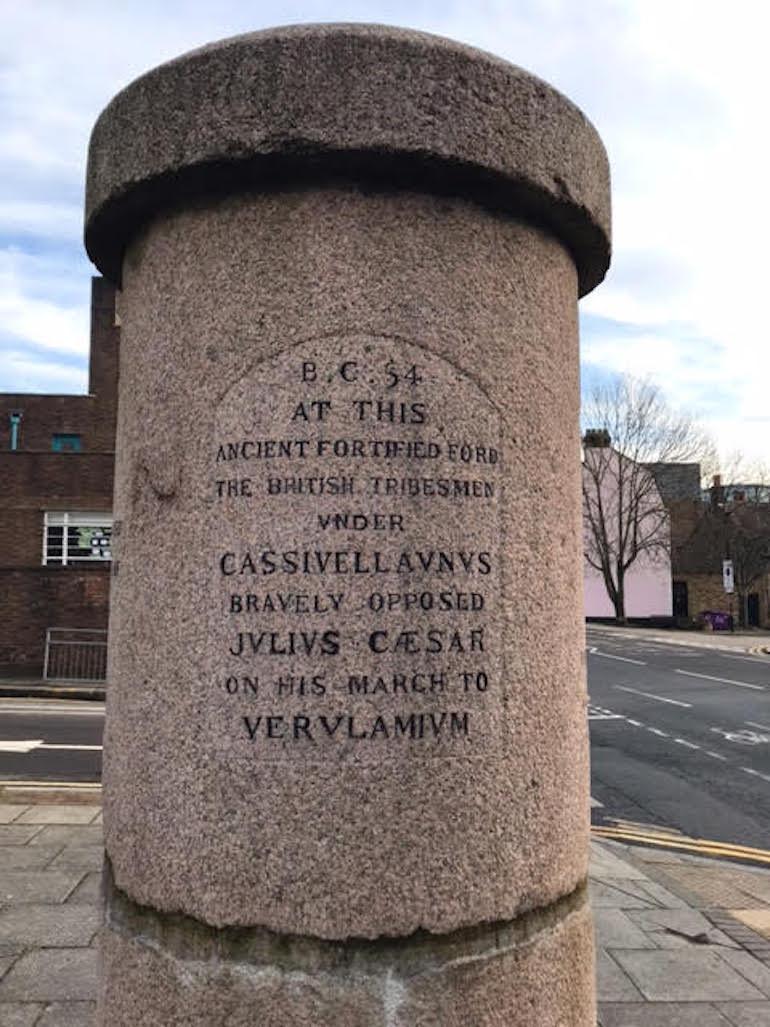 Brentford Monument with Julius Caesar Inscription. Photo Credit: © Steven Szymanski.