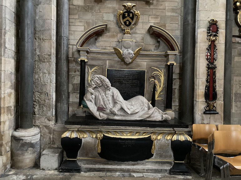 Quack doctor Lionel Lockyer 1600-1672 on the Southwark Cathedral tomb he designed for himself. Photo Credit: © Rick Jones.