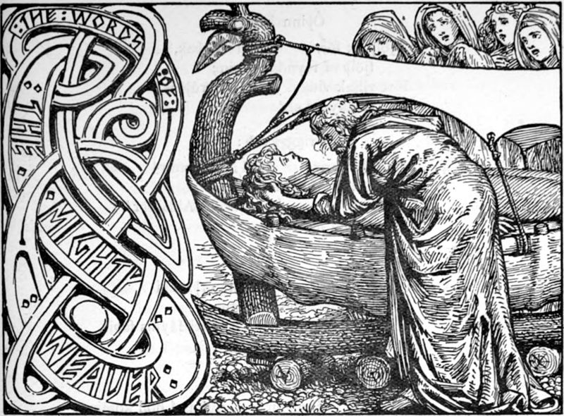 The god Odin whispers in the ear of the dead Baldr, lying in the boat, from The Elder Edda; commonly known as Sæmund's Edda. Photo Credit: © W.G. Collingwood via Wikimedia Common.