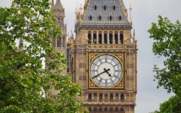 Close up view of the clock on Big Ben from Hungerford Bridge and Golden Jubilee Bridges. Photo Credit: © Ursula Petula Barzey.