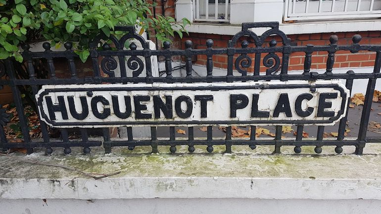 Huguenot Place sign in Wandsworth area of London. Photo Credit: © Christopher Hayden.
