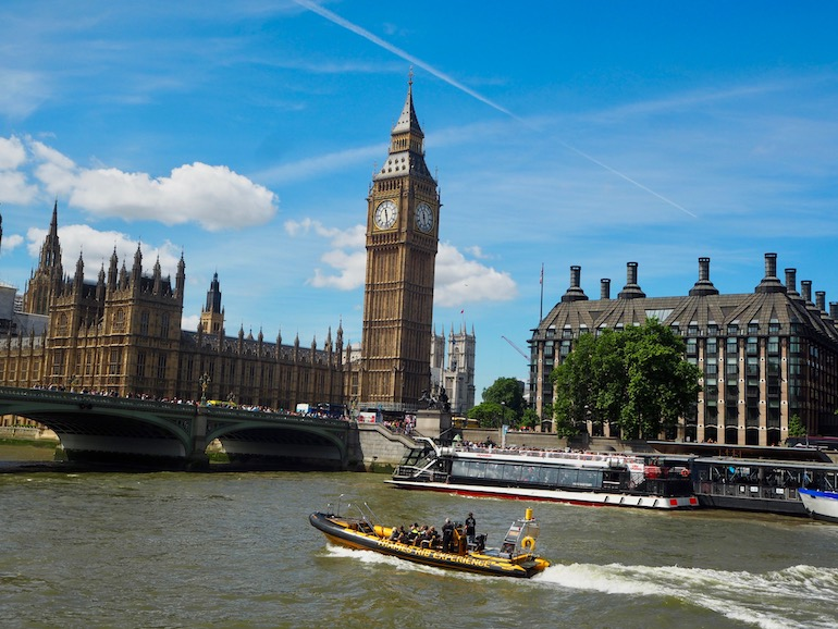 View of Palace of Westminster and Big Ben from the Thames River. Photo Credit: ©Ursula Petula Barzey.