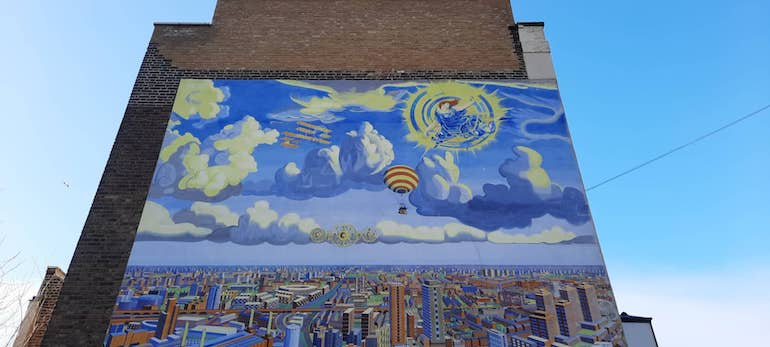 View of the sky and balloon in Battersea In Perspective mural by Brian Barnes. Photo Credit: © Christopher Hayden.