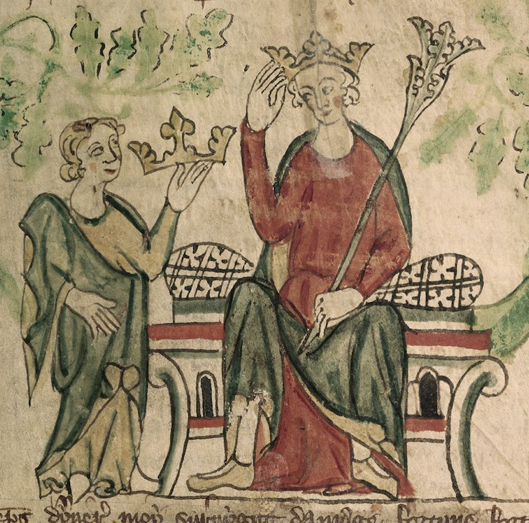 Edward II shown receiving the English crown in a contemporary illustration. Photo Credit: ©Public Domain via Wikimedia Commons.