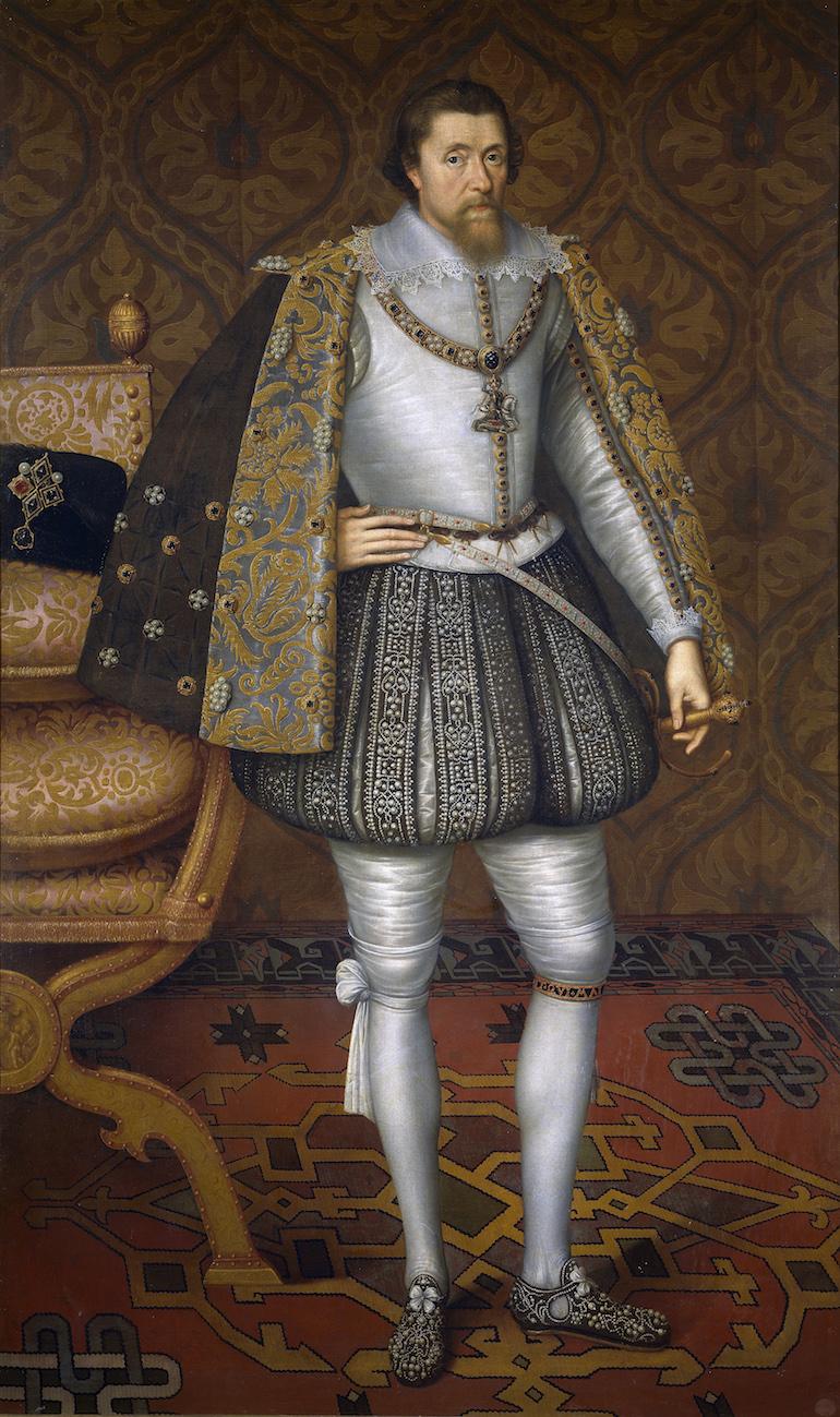 Portrait of King James I of England attributed to John de Critz, c. 1605. Photo Credit: © Public Domain via Wikimedia Commons.
