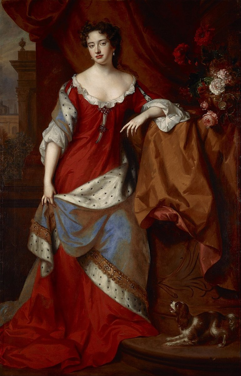 Portrait of Anne, Queen of Great Britain circa 1684, painted by Willem Wissing and Jan van der Vaardt. Photo Credit: © Public Domain via Wikimedia Commons.