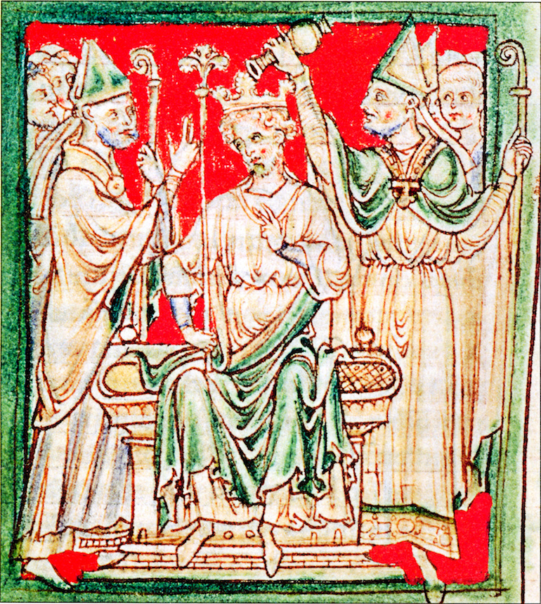 Richard I being anointed during his coronation in Westminster Abbey, from a 13th-century chronicle. Photo Credit: © Public Domain via Wikimedia Commons.