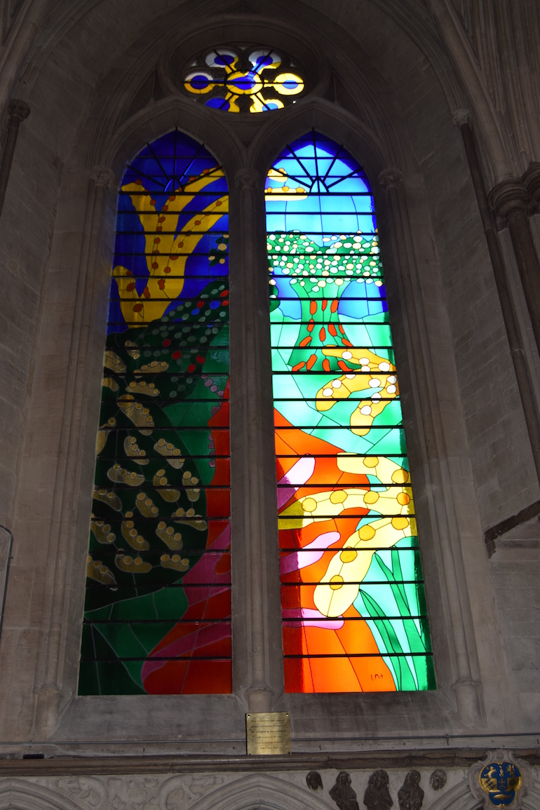 David Hockney-designed stained glass window celebrating the Queen Elizabeth II's reign at Westminster Abbey. Photo Credit: © David Streets.