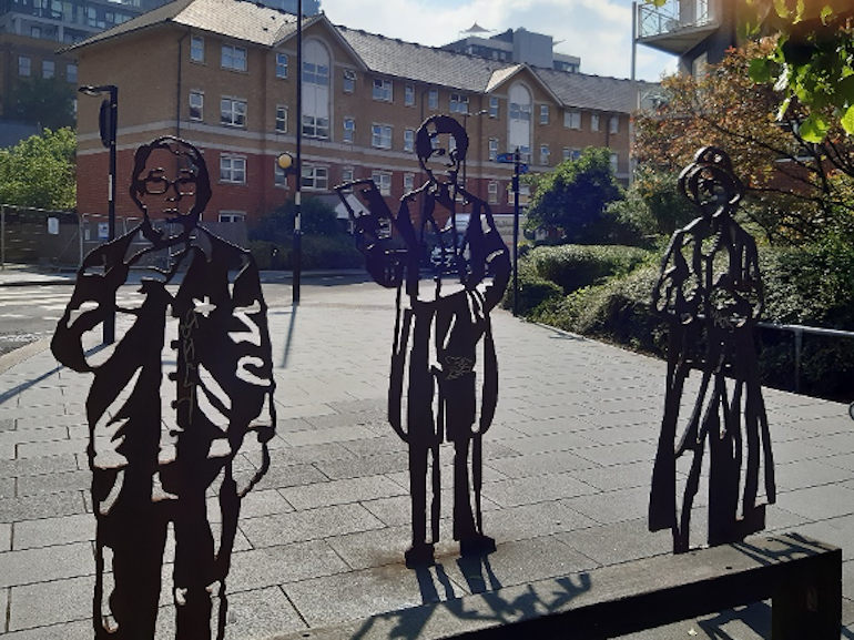 Metal statues (left to right_: Ronnie Corbet, Samuel Coleridge Taylor, and Dame Peggy Ashcroft. Photo Credit: © Angela Morgan.