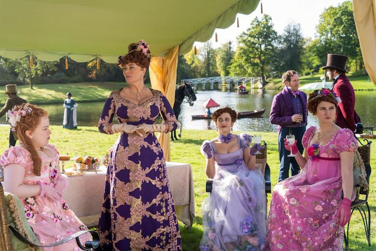 Scene from Netflix's Bridgerton TV Series: Featherington family picnic in Painshill Park. Photo Credit: © Netflix.