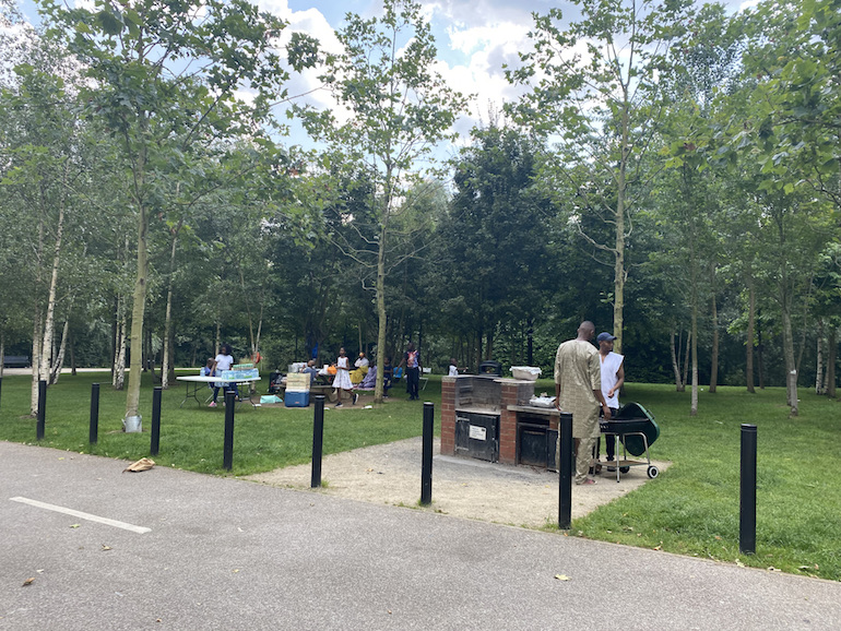 BBQ area at Queen Elizabeth Olympic Park in London. Photo Credit: © Sarah Woods.