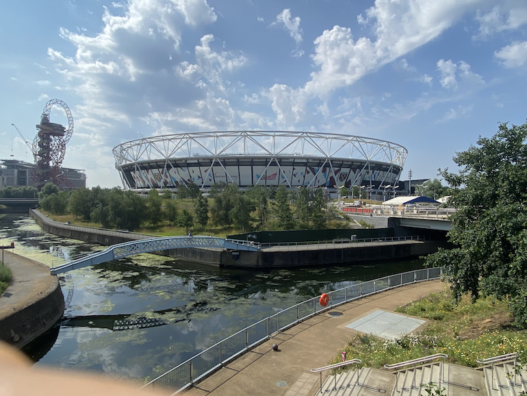London Stadium along with orbit waterway at Queen Elizabeth Olympic Park. Photo Credit: © Sarah Woods.