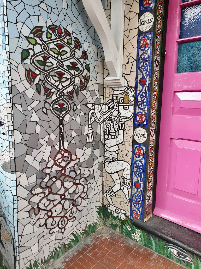 Aztec tribal near door at Carrie Reichardt Mosaic House, Chiswick area of London. Photo Credit: © Christopher Hayden.