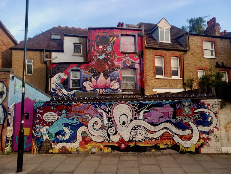 Back of the Carrie Reichardt Mosaic House, Chiswick area of London. Photo Credit: © Christopher Hayden.