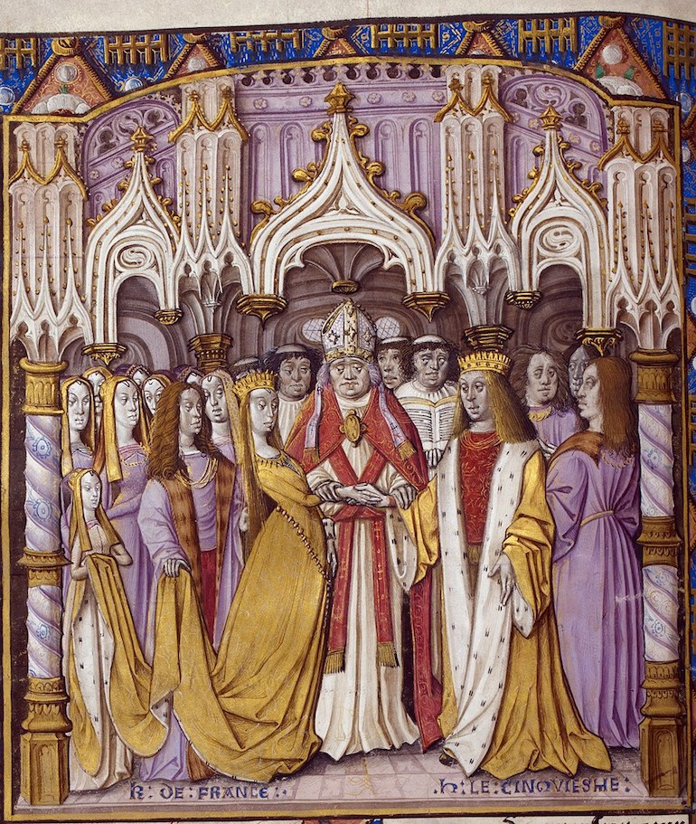 Late 15th-century depiction of Henry's marriage to Catherine of Valois. British Library, London. Photo Credit: © Public Domain via Wikimedia Commons.