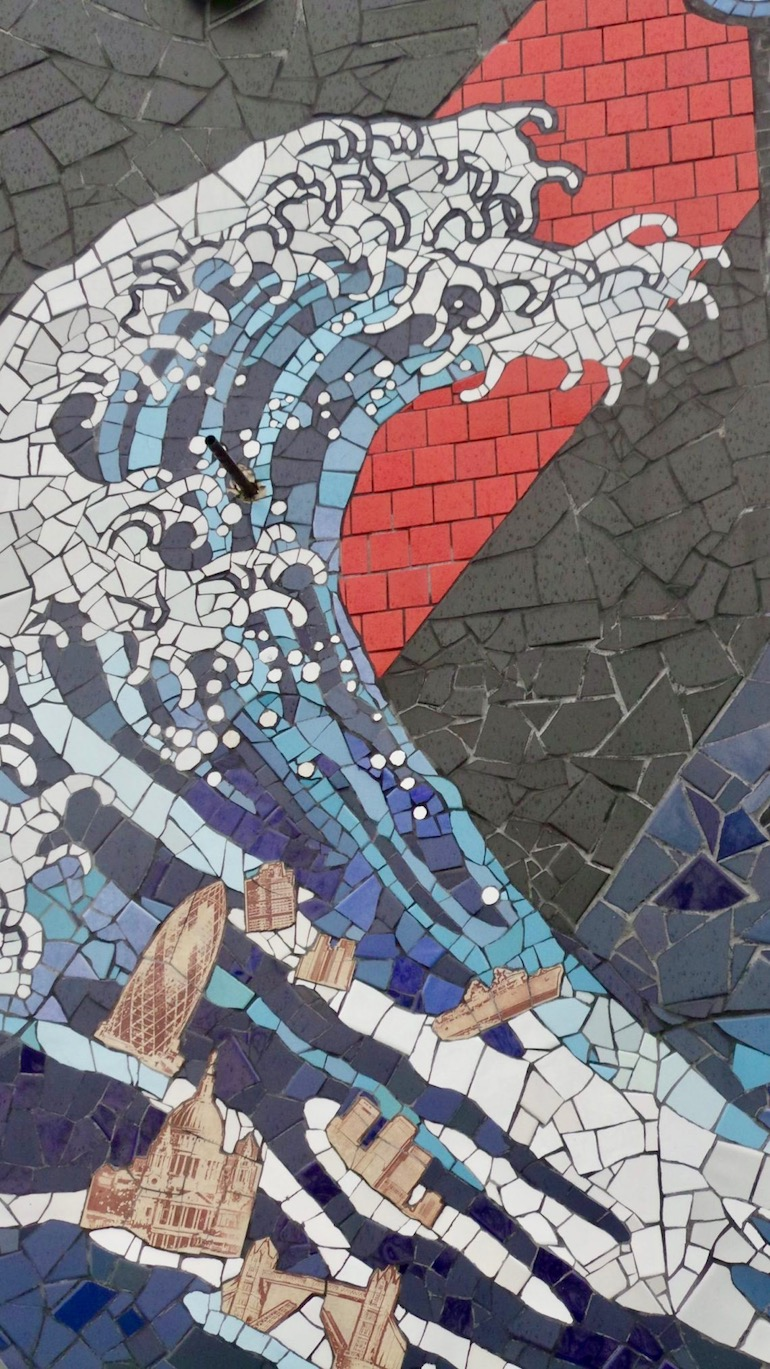 Massive wave at Carrie Reichardt Mosaic House, Chiswick area of London. Photo Credit: © Christopher Hayden.