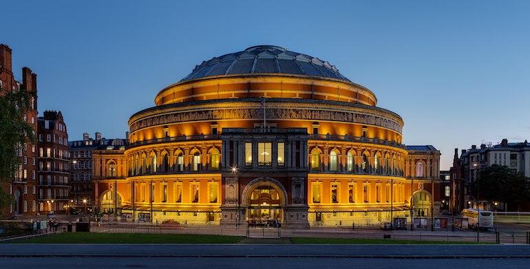 Outside the Royal Albert Hall during the BBC Proms season of 2008. Photo Credit: © Amanda Slater via Wikimedia Commons.